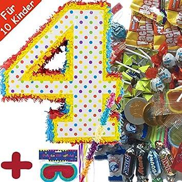 Piñata Juego: * Número 4 * con + Máscara + + 100 piezas ...