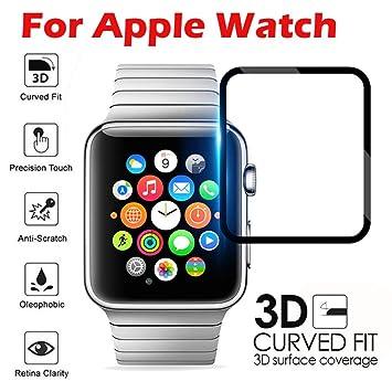 HKFV - Protector de pantalla de cristal templado de alta calidad para Apple Watch Series 3, ...