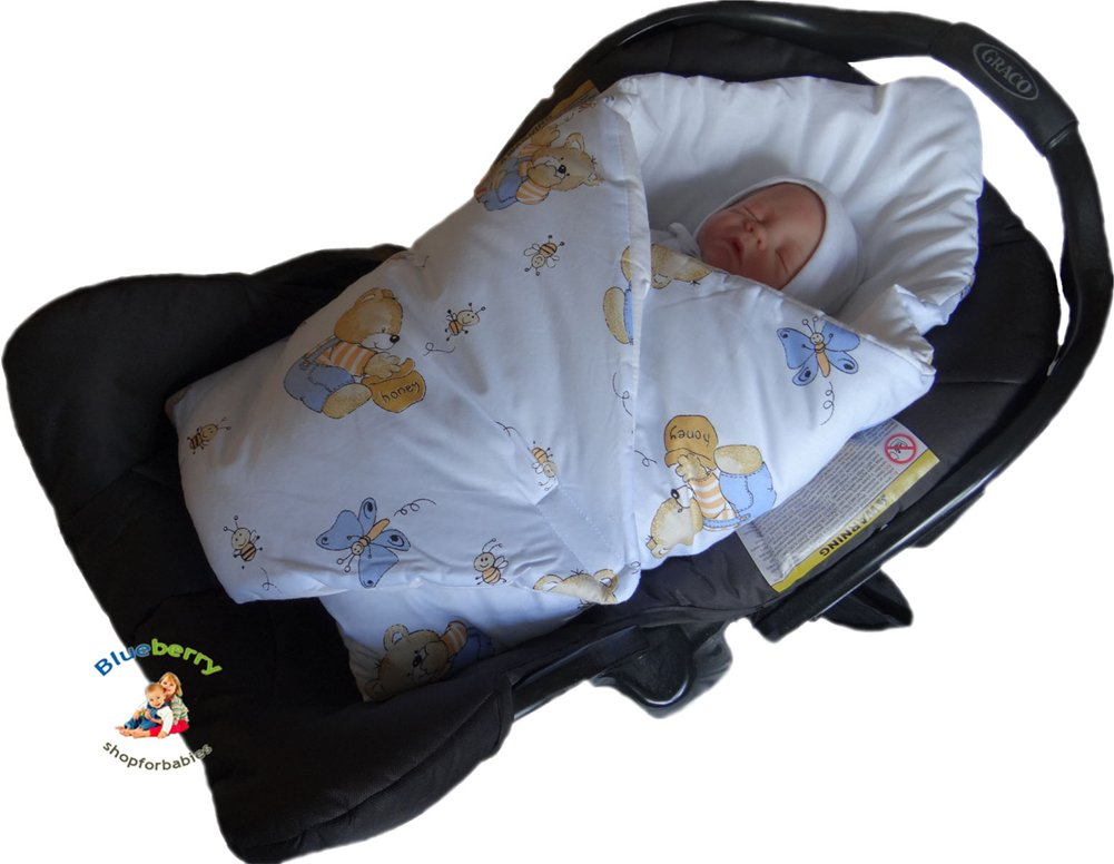Amazon BlueberryShop Luxury Classic For CAR SEAT Swaddle Wrap Blanket Sleeping Bag Newborn Baby Shower GIFT Cotton 0 3m 78 X Cm