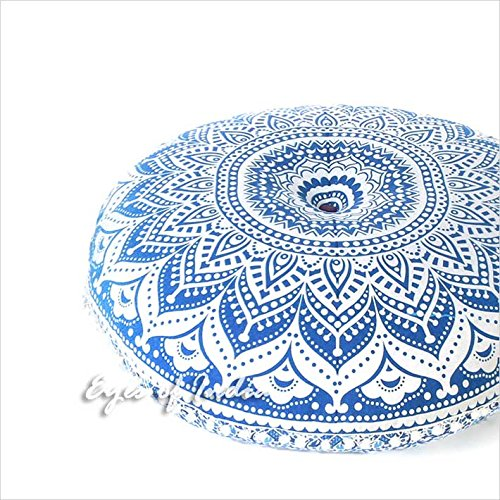Eyes of India - 32'' Blue White Floor Meditation Pillow Cushion Seating Throw Cover Hippie Mandala Round Colorful Decorative Bohemian Indian Boho Dog bedCover Only by Eyes of India (Image #6)