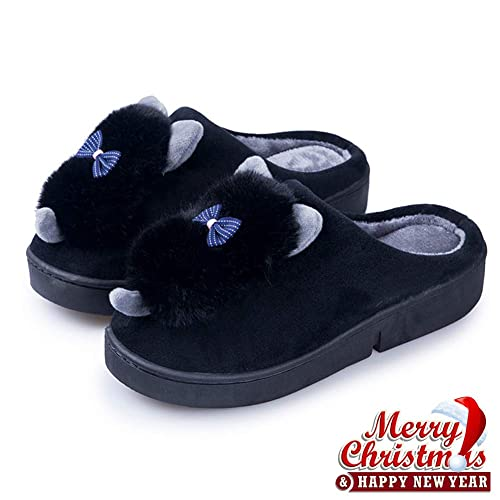 5b628b43270ae Womens Warm Slippers Faux Fur - Indoor Suede Slip On Shoes Comfort Fuzzy  House Slippers Memory Foam Black
