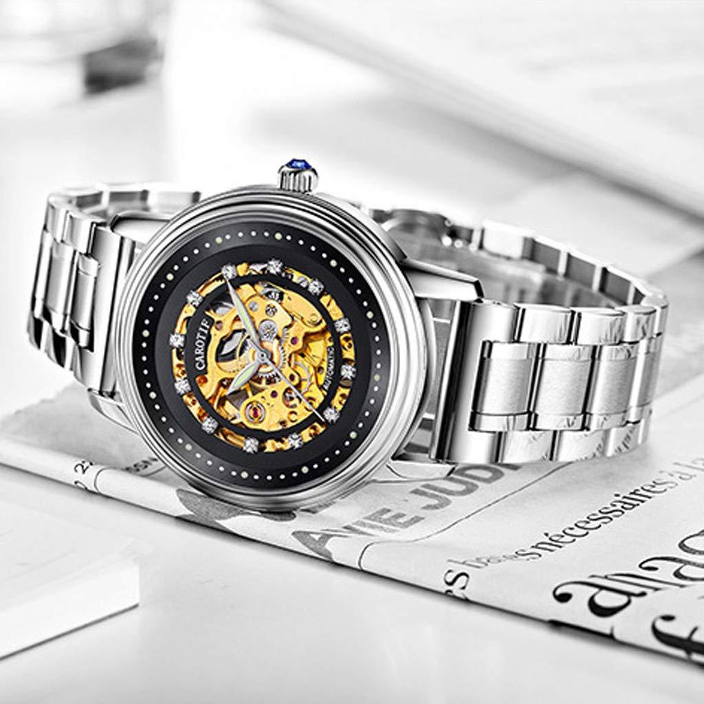 Automatiskt mekaniskt skelett armbandsur, sport enkel vardaglig business vattentät lysande herrklocka - flerfärgad Silver guld