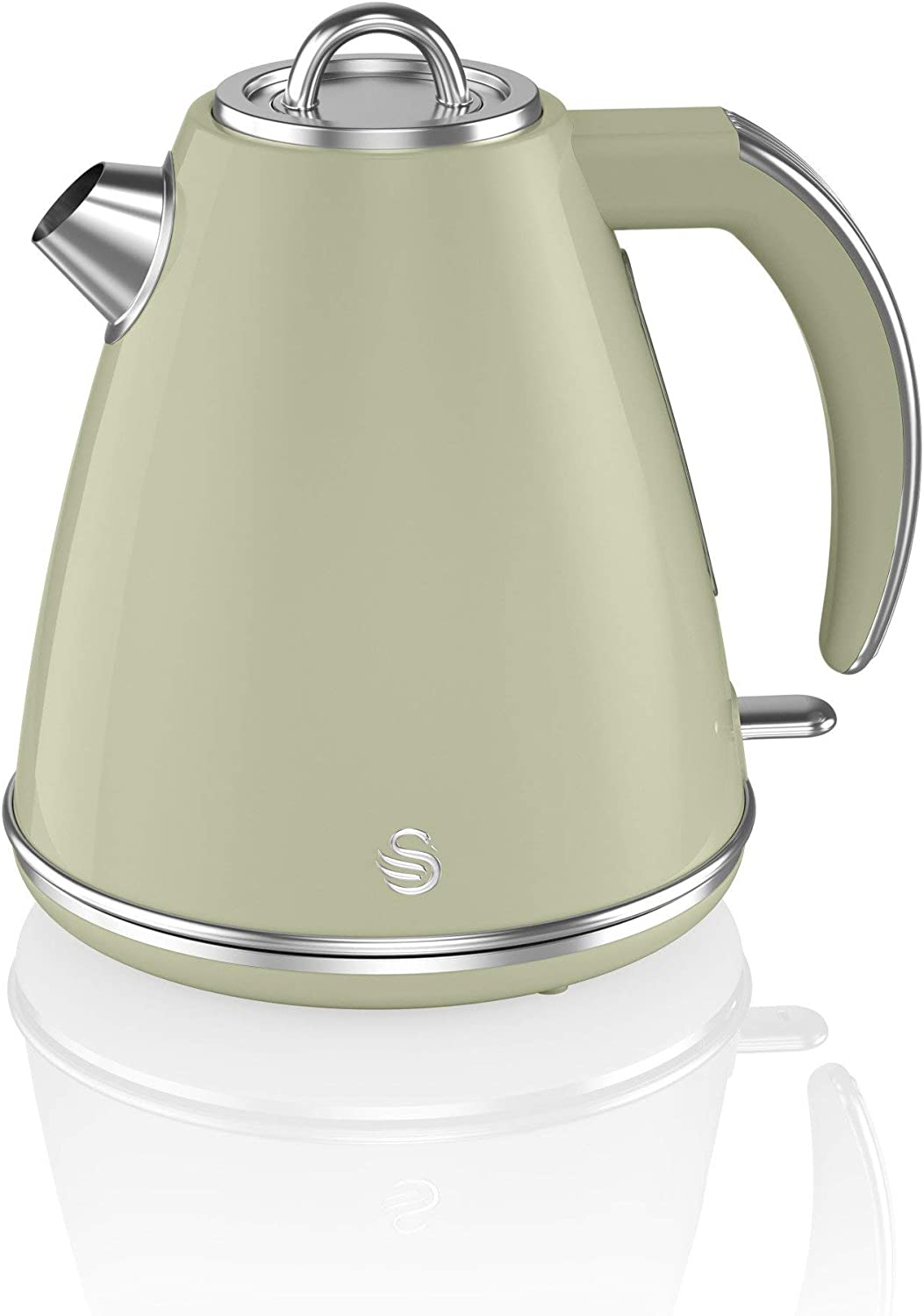 Slide-Out Crumb Tray 360 Degree Base Green Stainless Steel STP7041GN Retro 1.5L Jug Kettle /& 4 Slice Toaster Electronic Browning Control Swan