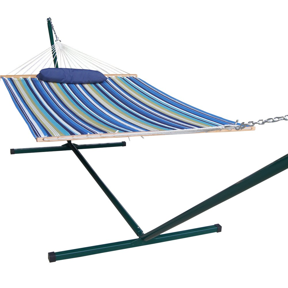amazoncom prime garden 15foot quilted hammock and pillow green coated steel frame garden u0026 outdoor