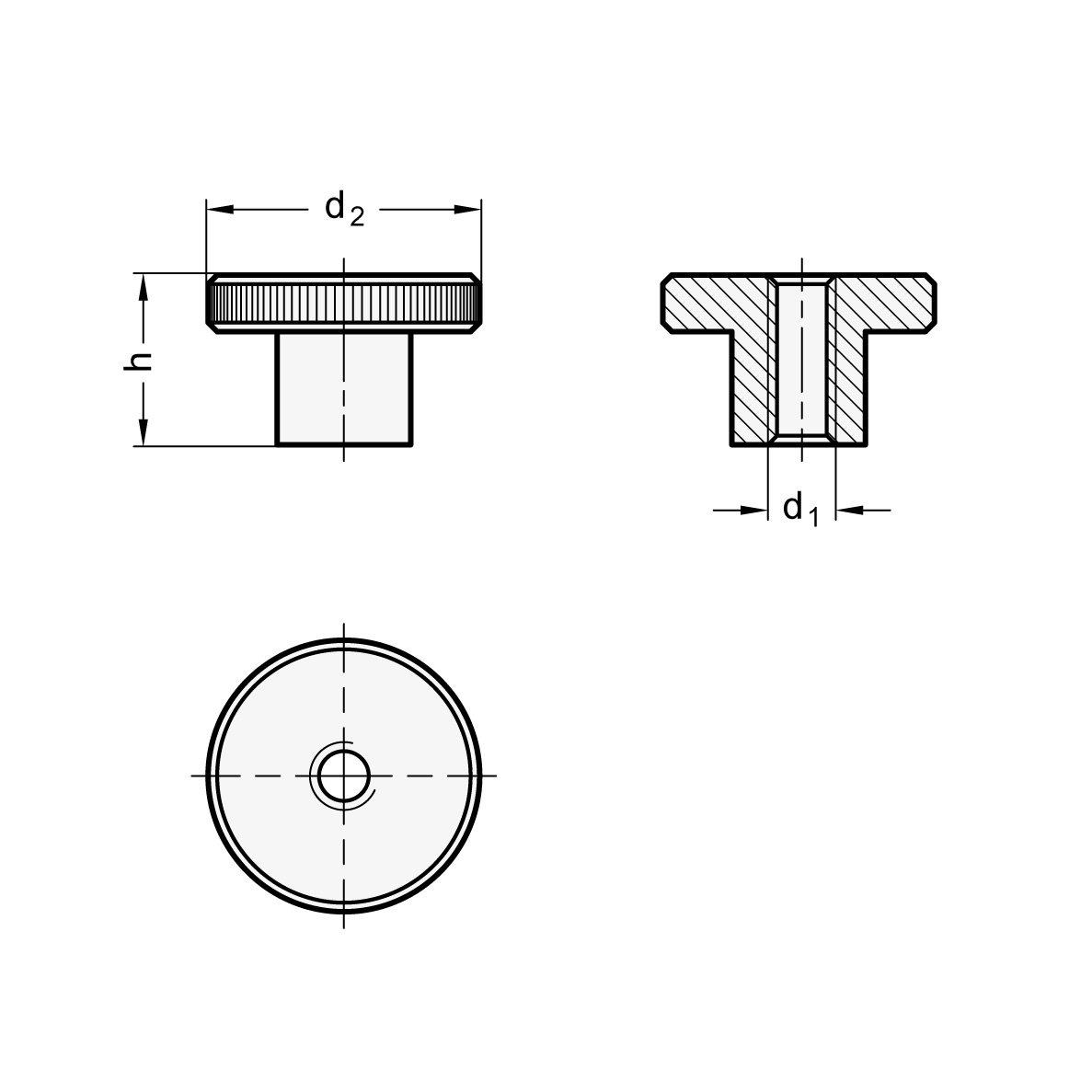 DIN 466-M8 Stahl br/üniert 10 St/ück Hohe R/ändelmutter Ganter Normelemente