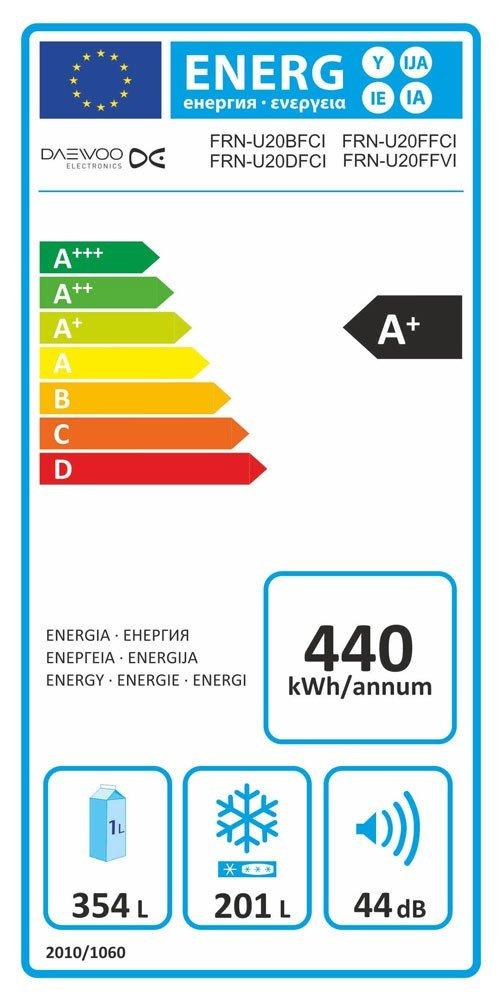 Daewoo FRN-U 20 BF CI K/Ã/¼hlschrank//K/Ã/¼hlteil360 liters //Gefrierteil201 liters