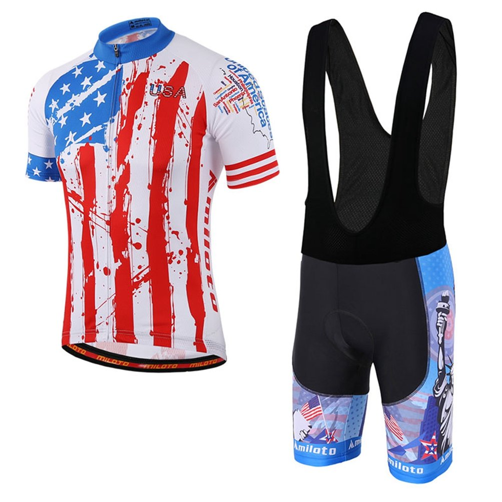 Uriah Men 's Cycling Jersey Bib Shortsブラックセット半袖Reflective B06Y28TW7X X-Large|USA Style USA Style X-Large