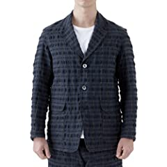 Sage de Cret Cotton Polyester Check Jacket: Navy