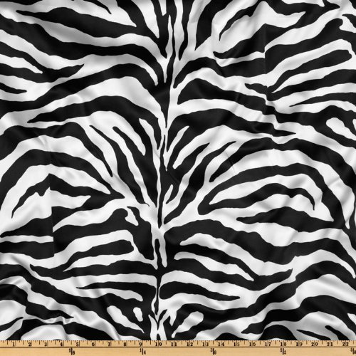 (Ben Textiles Charmeuse Satin Zebra Fabric, White/Black, Fabric by the yard)