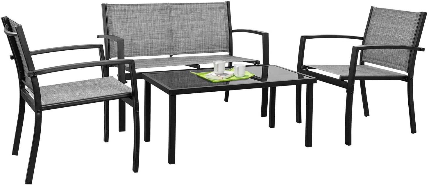 Tuoze 4 Pieces Outdoor Patio Furniture Set Conversation Set with Glass Coffee Table Bistro Set with Loveseat Garden Yard Lawn and Balcony (Grey)