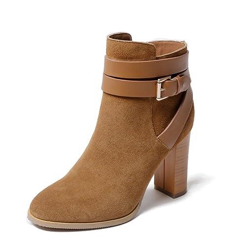 Moda botines/Se?ora coreana cremallera botas/ tacón cuero botas-A Longitud