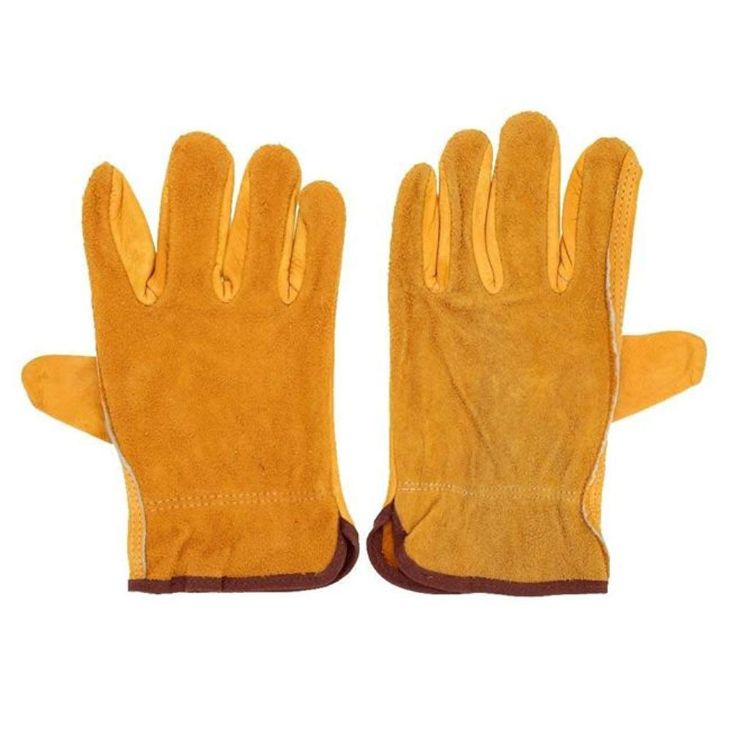 LZRZBH Heavy Duty Welding Gloves for Men and Women,Heat Resistant Quality Gloves Flame Retardant Fully Lined Pair Leather Working Gloves Yellow,1 Pair