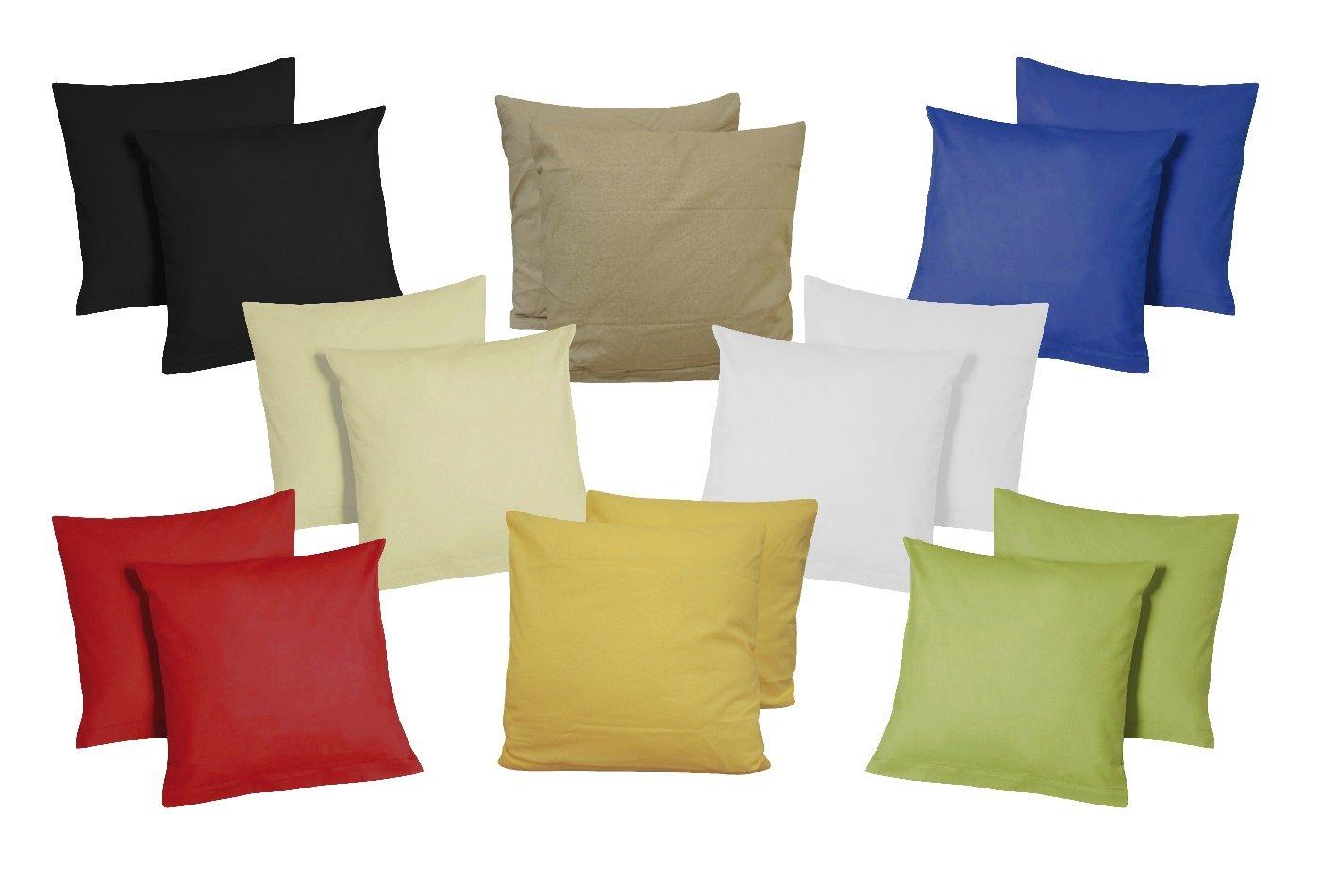 Fodera per cuscino, 40 x 40 cm, set di 2 fodere in microfibra, Cotone, Beige, 40 x 40 cm SHBV