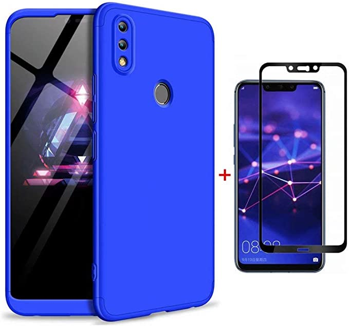 FHXD Compatible con Funda Huawei Honor 8X Anti-Shock 360° Carcasa Case Cover Protectora [Protector de Pantalla] Ultra Thin Anti-Scratch 3 in 1 Caso Cáscara Protectora-Azul: Amazon.es: Electrónica