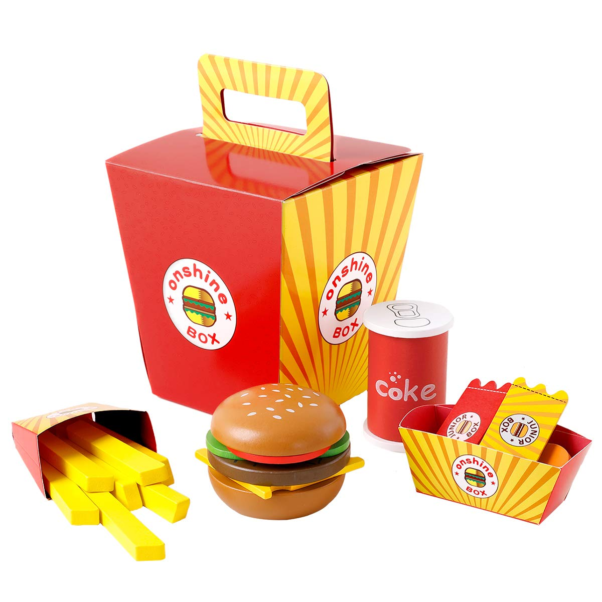 Onshine Wooden Fast Food Toy Set For Kids Burger Fries Food Play