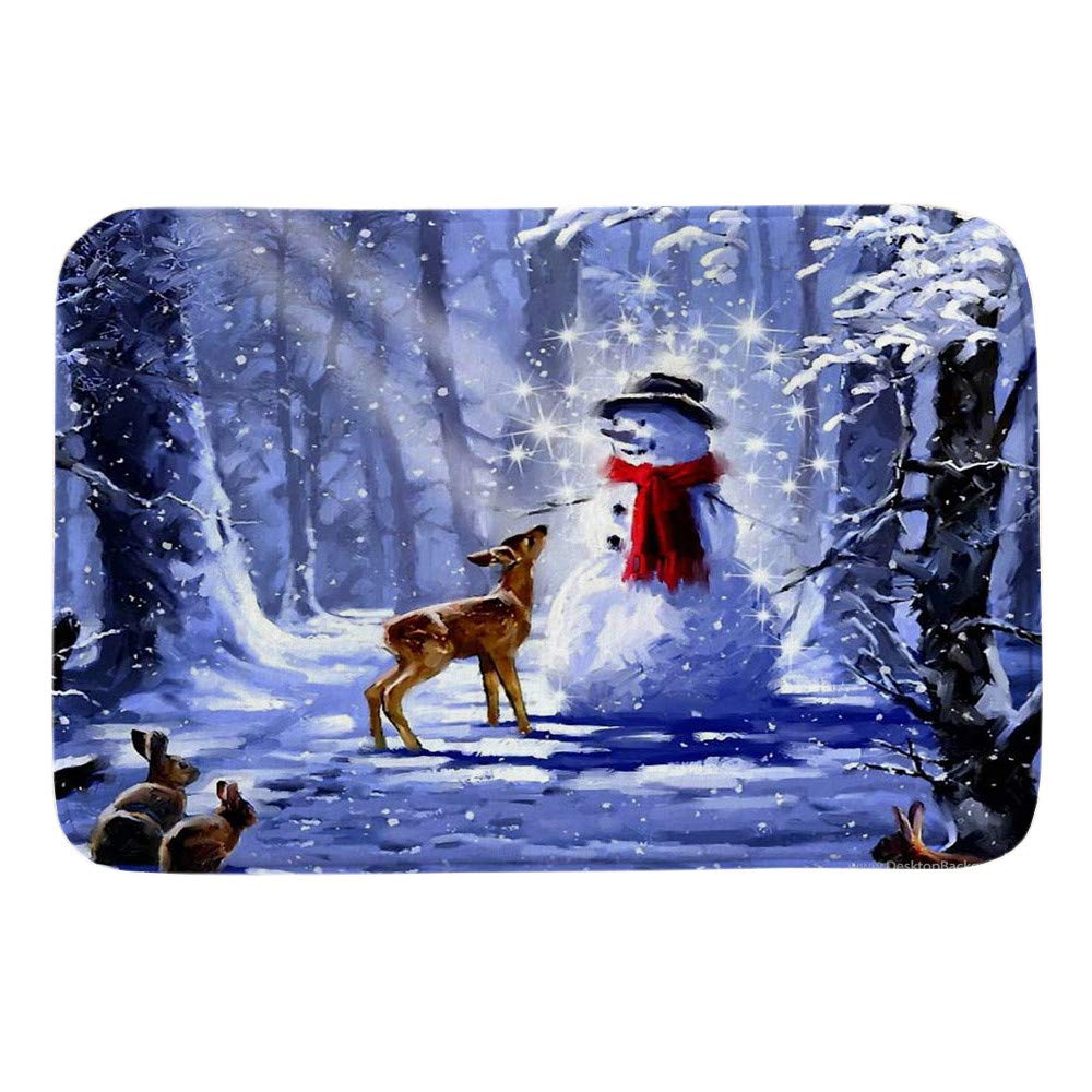 Vintage Merry Christmas Pgojuni Cute Snowman Printing Welcome Doormats Indoor Home Carpets Decor 1pc 40x60CM (E) by Pgojuni_Carpets (Image #1)