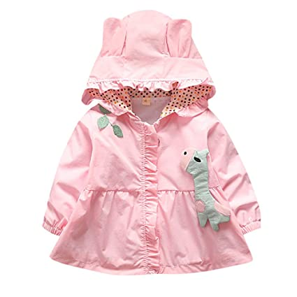 Easytoy Baby Kid Girls Hooded Trench Coat Jacket Outwear Raincoat Outerwear Ears Hood Hoodie (Pink