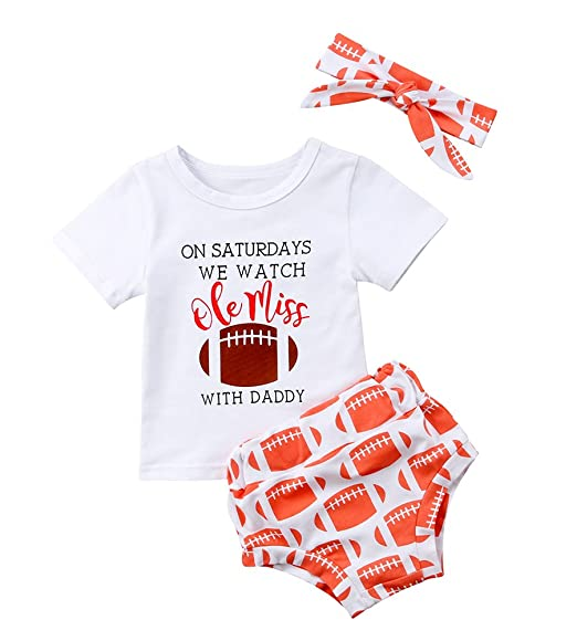 644df471d45 Amazon.com  Toddler Baby Girls Rugby Outfits Tops T-Shirt+Baseball Print  Short Pants Headbands Summer Clothes Set  Clothing