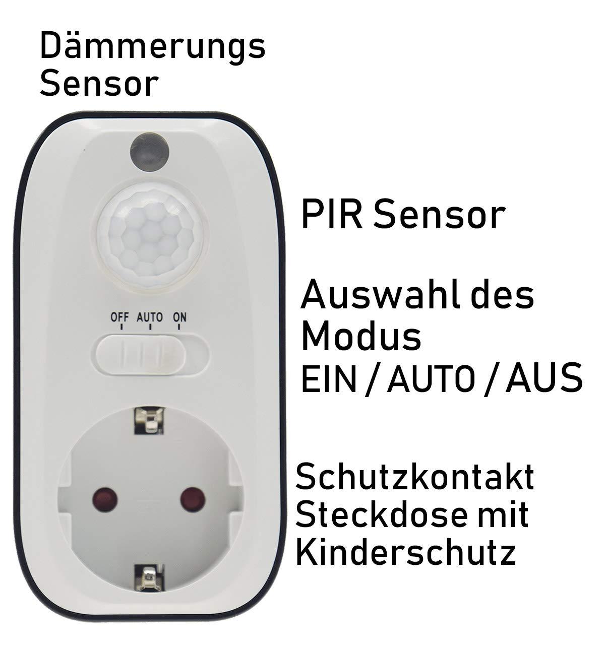 Zwischenstecker Steckdosenschalter 230V mit D/ämmerungssensor Kindersicherung f/ür Lampen Leuchten Tag /& Nachterkennung