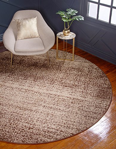 Unique Loom Autumn Collection Rustic Casual Warm Toned Beige Round Rug (8' 0 x 8' 0)