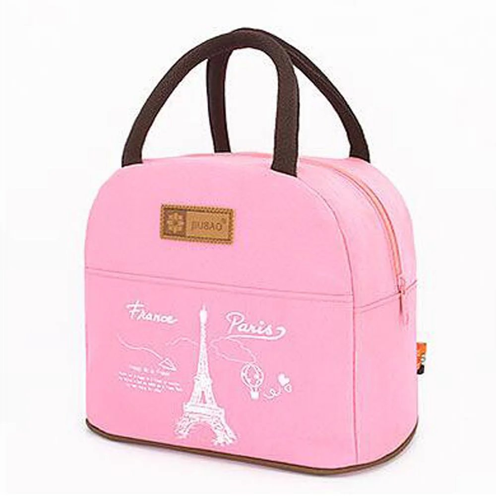 Muitifunction Canvas Bento Lunch Bag for Picnic Travel Tote Lunch Bag with Zipper Stylish Large Capacity Light Pink
