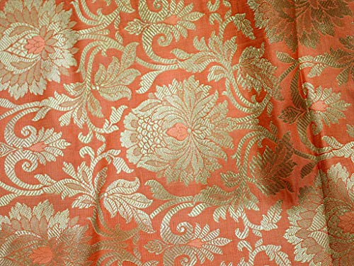 Peach Brocade Fabric Wedding Dress Banarasi Art Silk Indian Fabric for Lengha Brocade Fabric