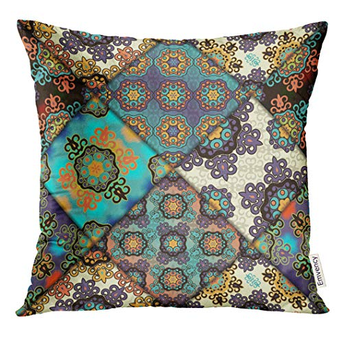 UPOOS Throw Pillow Cover Colorful Antique Abstract Patchwork Pattern Arabic with Geometric and Floral Ornaments Vintage Boho Style Decorative Pillow Case Home Decor Square 18x18 Inches Pillowcase