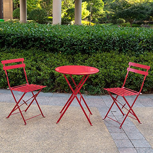 Sundale 3 piece Steel Frame Bistro Set (Red)