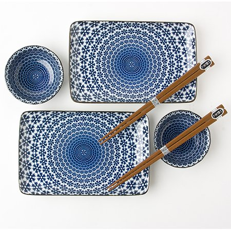 Miya Japan Blue and White Snow Sushi Set for 2 with Plates S