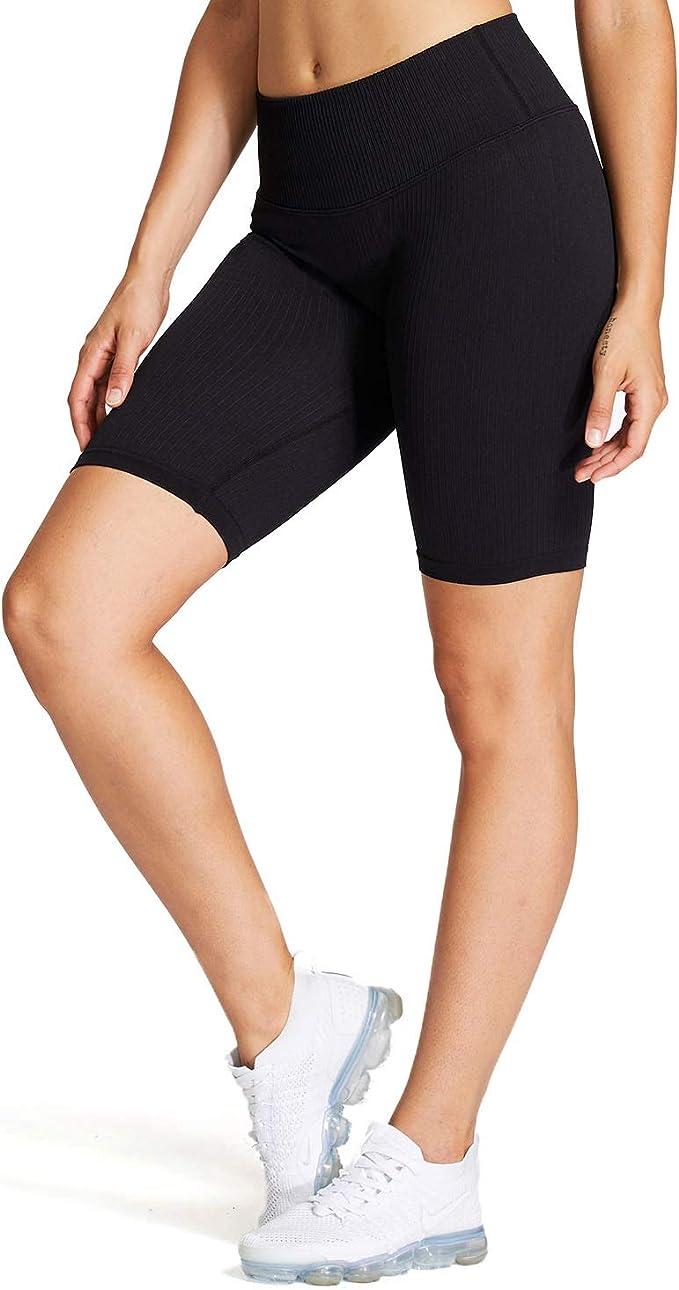 New Womens Ribbed Stretchy Activewear Yoga Dance Gym Biker Cycling Shorts Pants