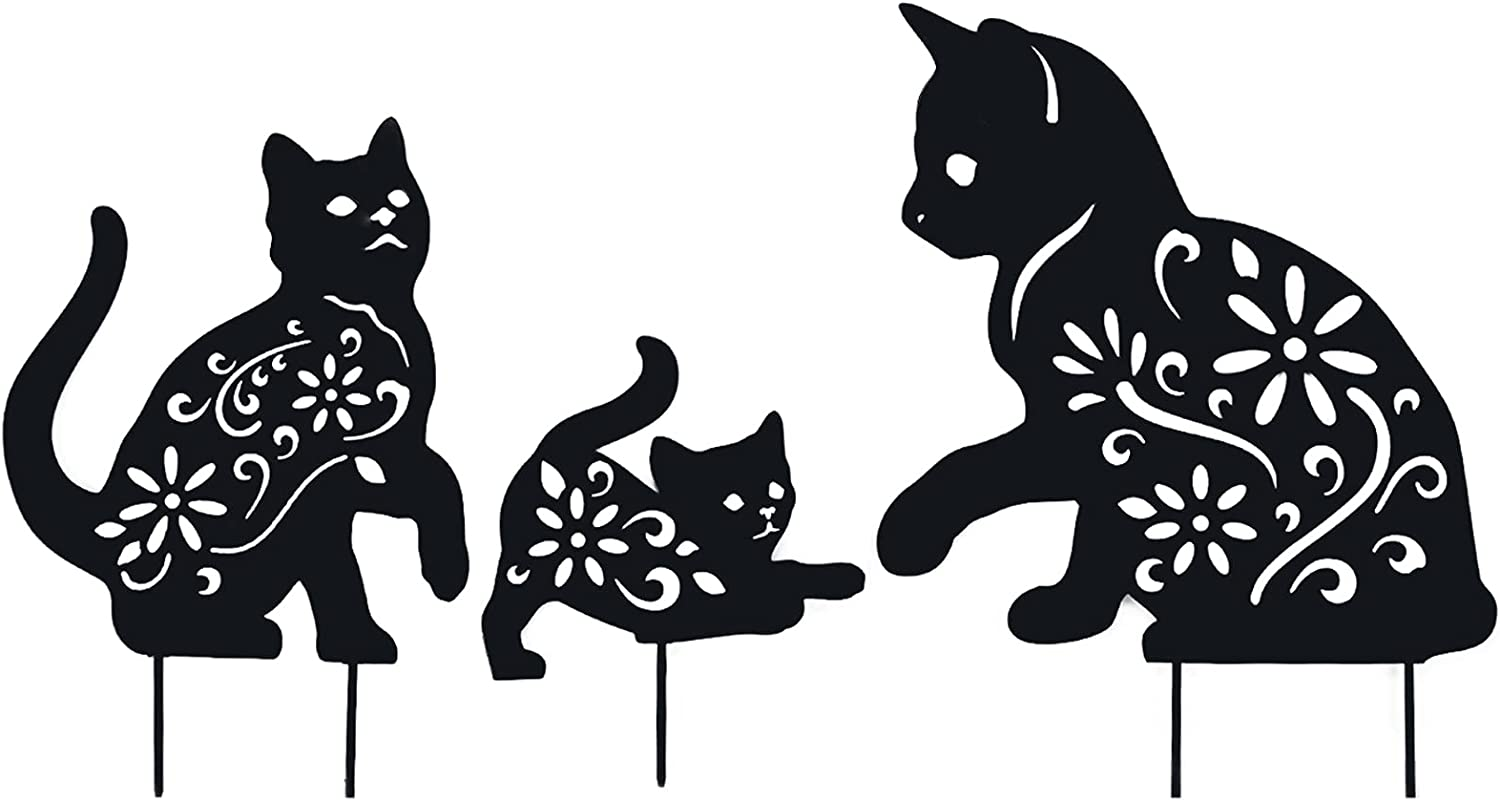 YEAHOME Metal Cat Garden Stakes - 3Pack Black Cat Silhouette Stake Decorative for Yards, Garden Decor - Animal Lawn Decorations Outdoor Decor, Cat Toys Gifts for cat Lovers