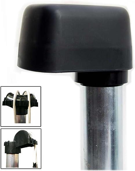 Tapa para mástil con entrada de cables grande para postes y soporte para viga de techo con 48 mm y 60 mm de diámetro