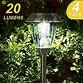 20 Lumens Super Bright Solar Lights Outdoor,Garden Solar Pathway Lights,Stainless Steel Landscape Lighting for Lawn/Patio/Yard/Walkway/Driveway (Set of 4)