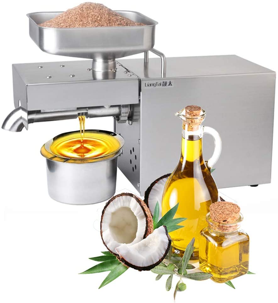 Kitchen Oil Press Machine Electric Automatic Oil Press Extractor Organic Oil Expeller for Avocado Coconut Olive Flax Peanut Castor Hemp Perilla Seed Canola Sesame Commercial Grade1500W