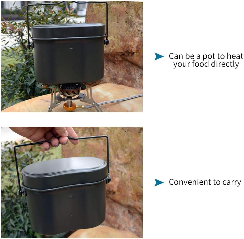 Lixada Outdoor Mess Tin Set Military Lunch Box Hiking Camping Climbing Lunch Case Outdoor Pot Bowl Tableware