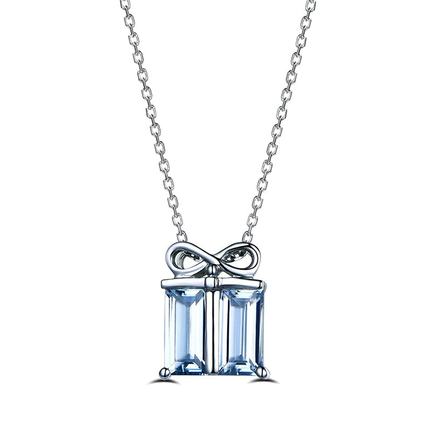 Aooaz Jewelry Material Silver Chain Necklace Gift Box Shaped Pendant Necklace Blue