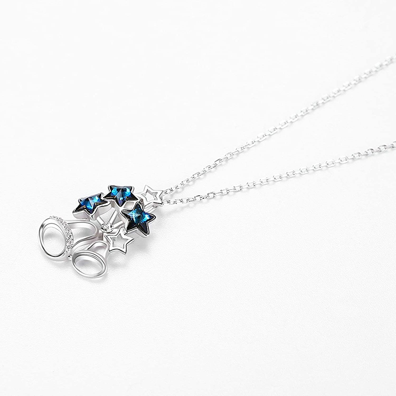 EoCot Women Necklace 925 Sterling Silver Christmas Bell Pendant with Blue CZ Crystals Gifts for Women Girls
