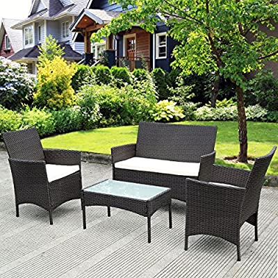 TANGKULA 4 Piece Patio Furniture Set Outdoor Pool Lawn Backyard Rattan Wicker Cushioned Sofas Loveseat and Glass Top Coffee Table Conversation Set Cushions Removable Modern Patio Furniture Set