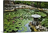 Great BIG Canvas Gallery-Wrapped Canvas entitled Koi pond covered with lily pads at Isamu Taniguchi Japanese Garden