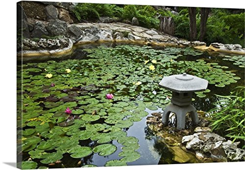 Great BIG Canvas Gallery-Wrapped Canvas entitled Koi pond covered with lily pads at Isamu Taniguchi Japanese Garden by greatBIGcanvas