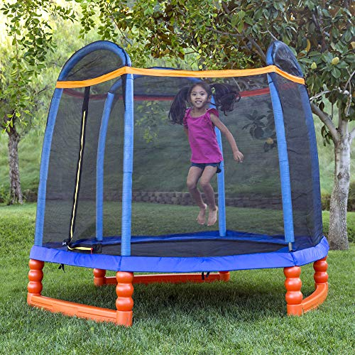 Best Choice Products 7ft Kids Outdoor Round Mini Trampoline w/Enclosure Safety Net Pad, Built-in Zipper - Multicolor by Best Choice Products (Image #1)