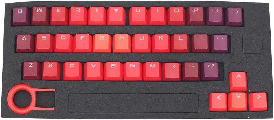Gradiente Color Keycap 37 PBT Doble Disparo Inyección Backlit Keycaps para Todos los teclados mecánicos de Juegos con Extractor de Llaves Flame ...