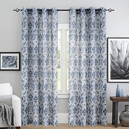 jinchan Medallion Linen Curtains for Living Room Curtain Panels Flax Retro Print Linen Blend Damask Curtains for Bedroom Window Panels 95