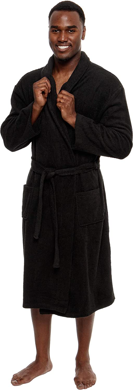 Ross Michaels Men's Lightweight Cotton Terry Robe - Luxury Bathrobe w/Shawl Collar