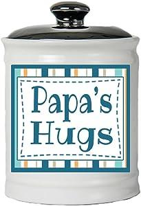 Cottage Creek Papa Gifts Round Ceramic Papa's Hugs Jar/Papa Gifts from Grandchildren Papa Birthday Best Papa [White]