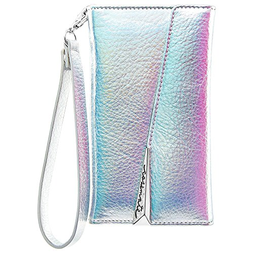 Case-Mate iPhone 8 Plus Case - WRISTLET FOLIO - Premium Pebbled Leather - Protective Design for Apple iPhone 8 Plus - Iridescent