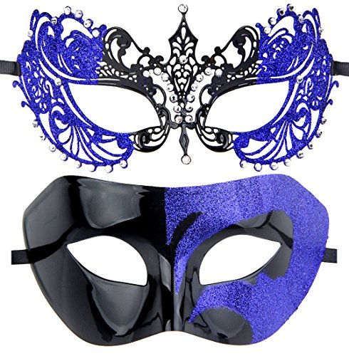 Couples Pair Mardi Gras Venetian Masquerade Masks Set Party Costume Decorations (Blue&black1) ()