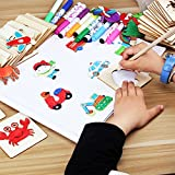 Meiyiu Children Painting Stencil Templates with Water Color Pen Set More Than 55 Stencil Creative Drawing Tools Gift for Kids