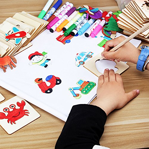 Meiyiu Children Painting Stencil Templates with Water Color Pen Set More Than 55 Stencil Creative Drawing Tools Gift for Kids by Meiyiu
