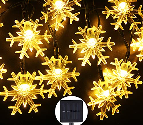 Inngree Solar Fairy String Lights 20 ft 30 LED 8 Modes Snowflake Waterproof Solar Power Christmas Lights Outdoor (Warm White)